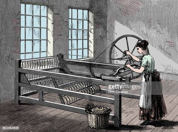 Woman using a Spinning Jenny, c1880. The Spinning Jenny was invented by James Hargreaves in 1764. On his original machine, a single wheel controlled...