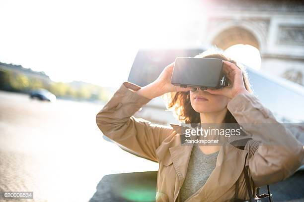 woman using a Virtual reality simulator in paris
