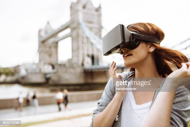 woman using a VR headset in london