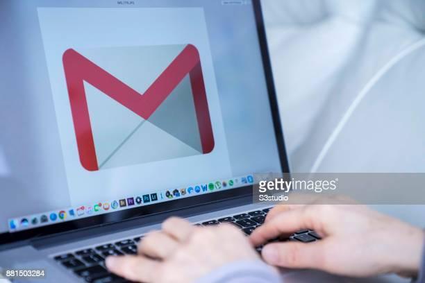 A woman using an Macbook Pro as she uses Google Gmail on November 27 2017 in Hong Kong Hong Kong