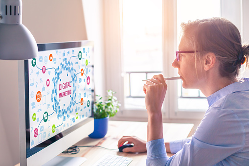 Woman using computer, digital marketing technology concept on screen, email 870176052