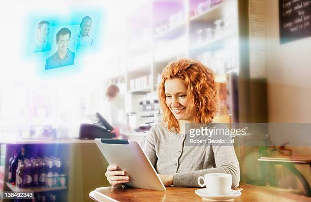 Woman using internet dating site