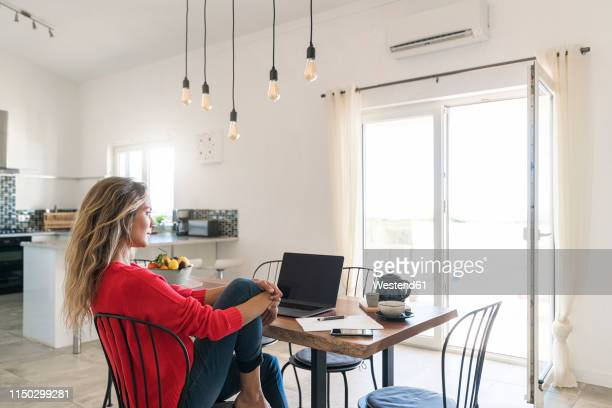 woman using laptop on dining table in modern home - on the move fotografías e imágenes de stock