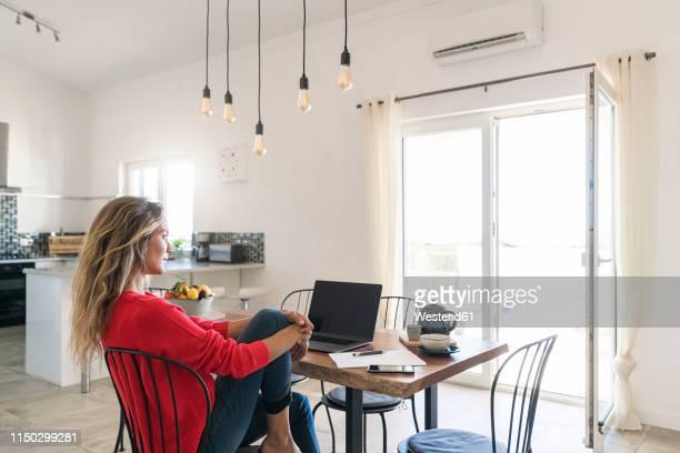 woman using laptop on dining table in modern home - a caminho imagens e fotografias de stock