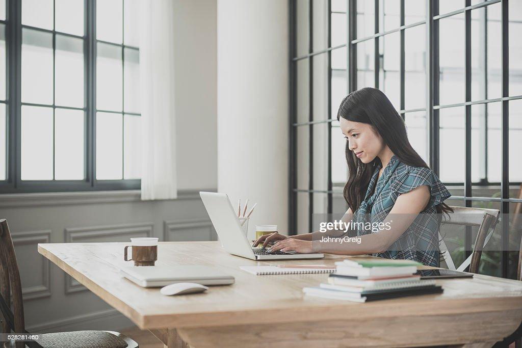 ノートパソコンを使う女性 : ストックフォト