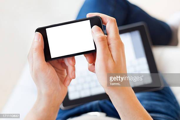 Woman Using Smartphone and Digital Tablet