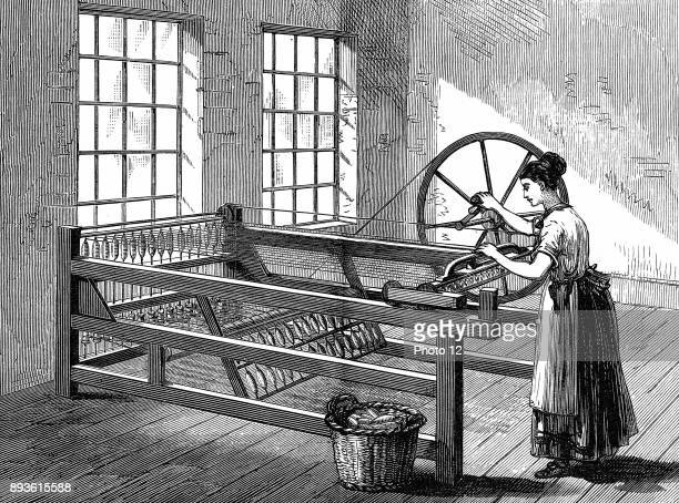 Woman using Spinning Jenny Invented by James Hargreaves in 1764 Wood engraving c1880