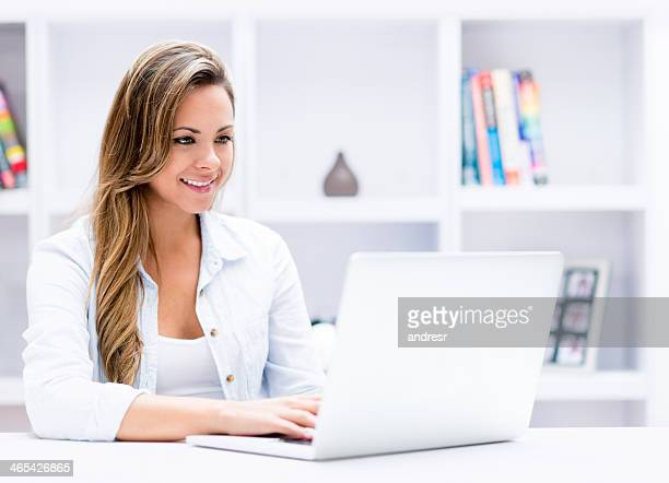 Woman using the computer