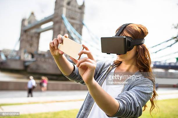woman using the VR simulator in London