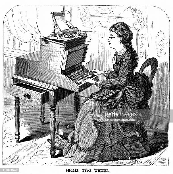 Woman using typewriter by American inventor Christopher Latham Sholes . Forerunner of 20th century machine, keys had piano action and the carriage...