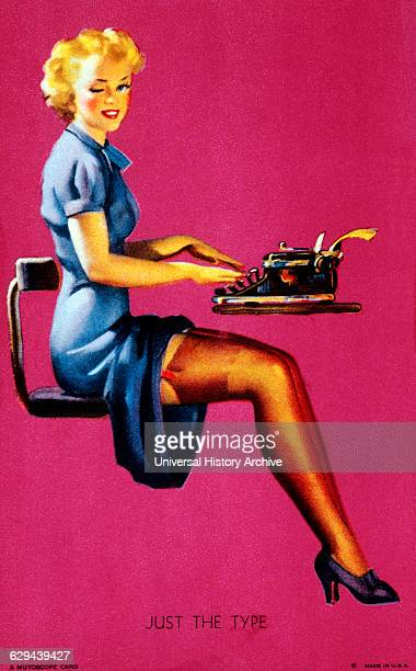Woman Using Typewriter 'Just the Type' Mutoscope Card 1940's