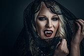Woman vampire creative make up for halloween