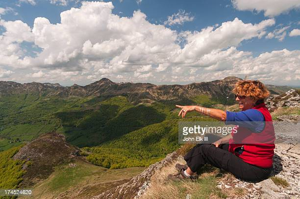 Woman viewing Auvergne landscape