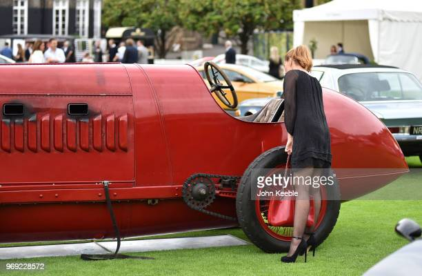 A woman views a 1911 Fiat S76 on display at the London Concours at the Honourable Artillery Company on June 7 2018 in London England The event billed...