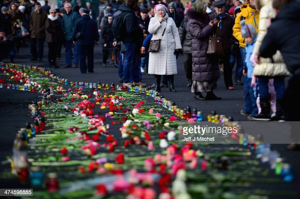 A woman views a pathway of flowers placed in Independence Square for the antigovernment demonstrators who were killed in clashes with police last...