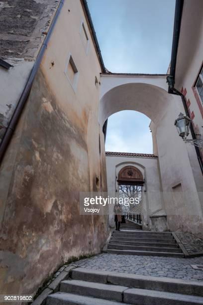 a woman visit český krumlov castle, czech republic - vsojoy stock pictures, royalty-free photos & images