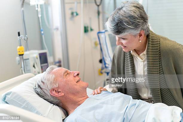 Woman visiting a patient at the ICU