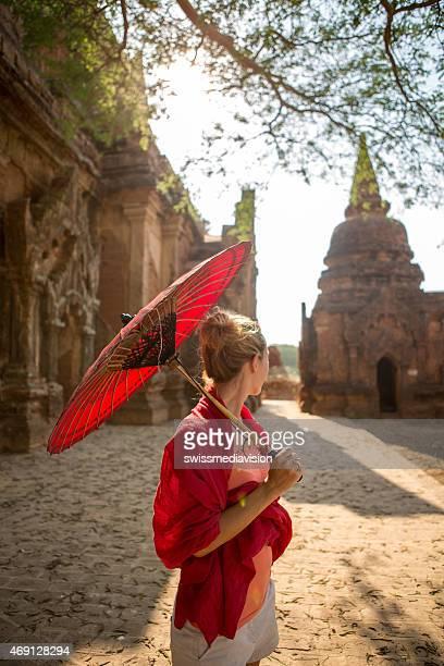 Woman visiting Bagan temples