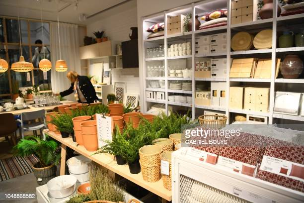 Woman visits a store of the Swedish furniture giant Ikea in Madrid city center on October 10, 2018.