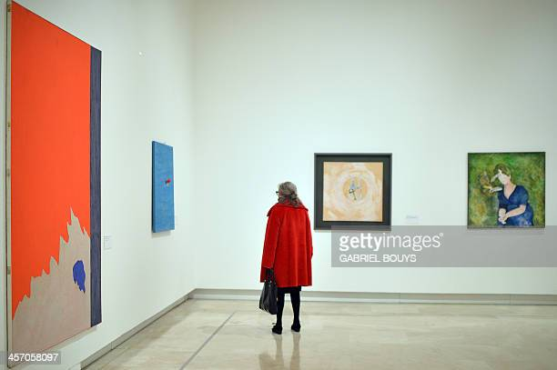 A woman visits the exhibition Anni 70 Arte a Roma during a press preview at the Palazzo delle Esposizioni on December 16 2013 in Rome Almost two...