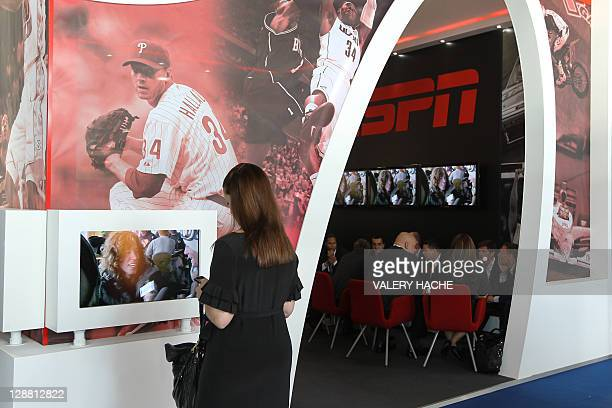 Woman visits the International Sports convention for Television and New Media on October 10, 2011 in Monaco. The convention is the most important...