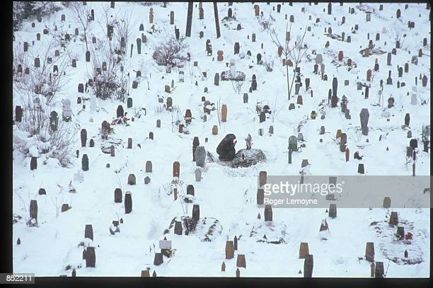 Woman visits the Sarajevo cemetary March 5, 1996 in Sarajevo, Bosnia-Herzegovina. The city is reopening its businesses, repairing damages from the...