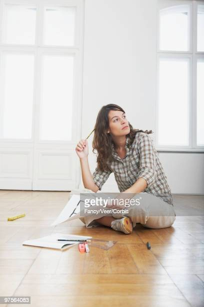 Woman visualizing home renovations