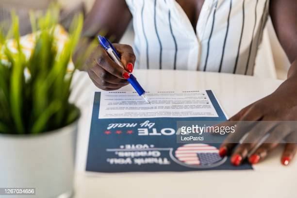woman voting from home for the usa election - voting stock pictures, royalty-free photos & images