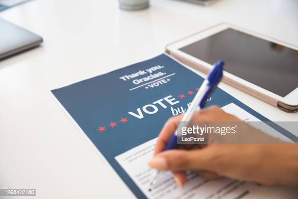 woman voting from home for the usa election - presidential election stock pictures, royalty-free photos & images