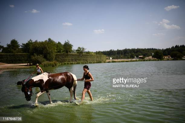 A woman wades through water with her horse to refresh him in a lake in LamotteBeuvron south of Paris central France on July 25 as a new heatwave hits...