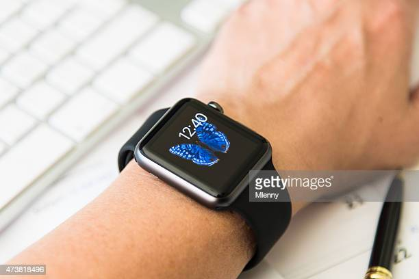 woman waering apple watch sport space grey at office desk - strap stock pictures, royalty-free photos & images