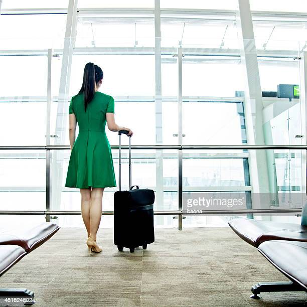 Woman waiting at the airport
