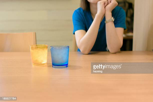 A woman waiting for a meal