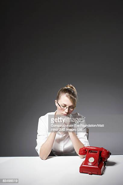 Woman waiting for a phone call