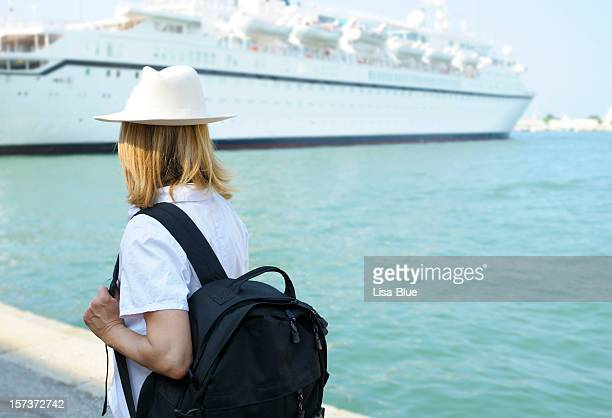 woman waiting for cruise ship - cruise ship stock pictures, royalty-free photos & images