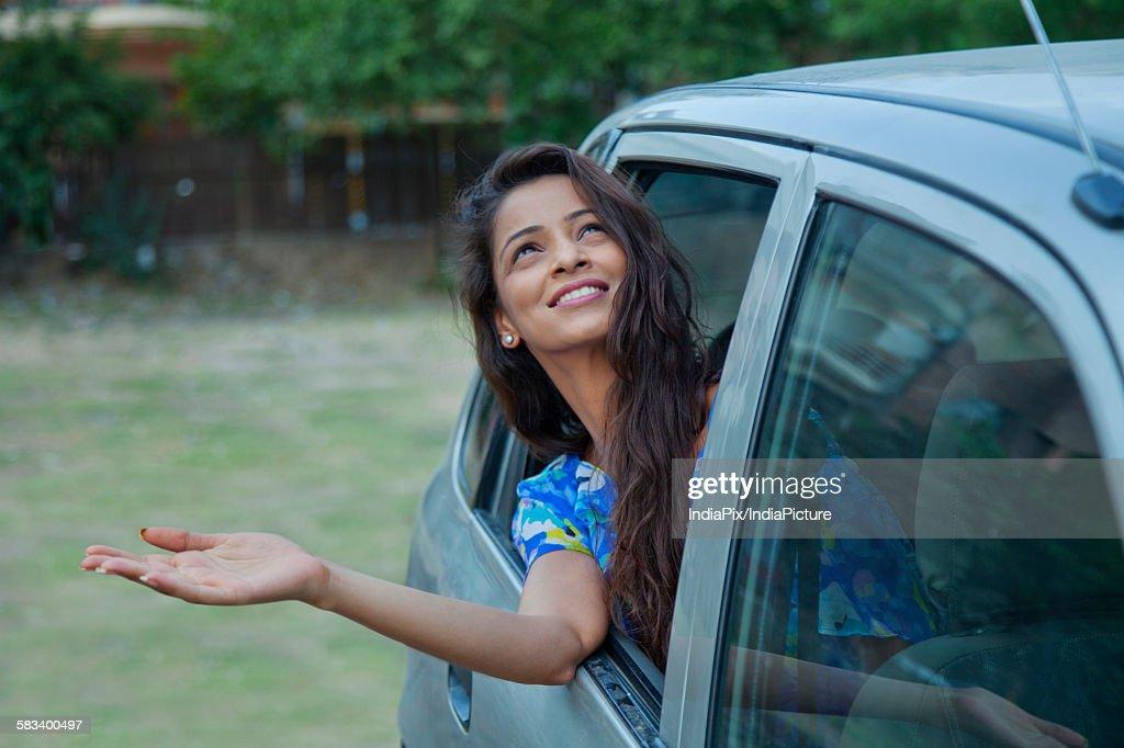 Woman waiting for rain : Stock Photo