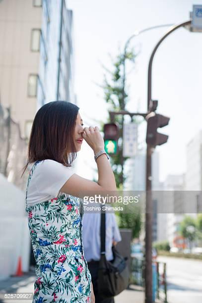 A woman waiting