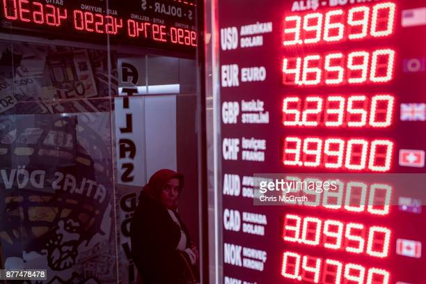 A woman waits at the entrance to a currency exchange office showing the US dollar rate on November 22 2017 in Istanbul Turkey The Turkish Lira...