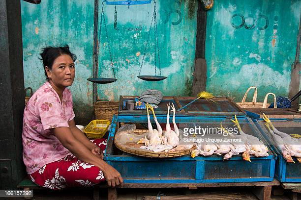 CONTENT] A woman waits patiently in her small colorful shop for clients to buy her chickens for sale on the local market of Nyaung U Mandalay Region...