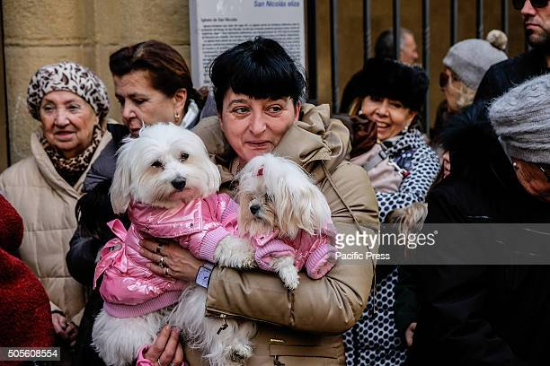 A woman waits with her dogs to be anointed outside the Saint Nicolas church in Pamplona