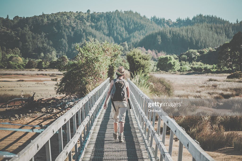 Woman Walking Abel Tasman Coast Track, New Zealand South Island : Stock Photo