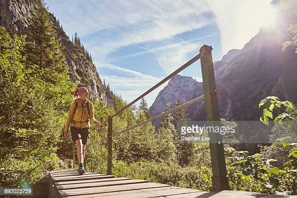 woman walking across bridge, h_llental, zugspitze, garmisch-partenkirchen, bavaria, germany - oberbayern stock-fotos und bilder
