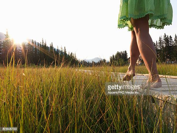 woman walking along edge of boardwalk, low view - gras stock pictures, royalty-free photos & images