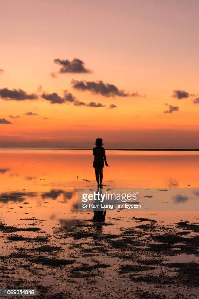 woman walking at beach against sky during sunset - surat thani province stock pictures, royalty-free photos & images