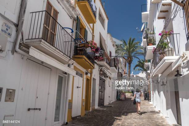 Woman walking at Ibiza city