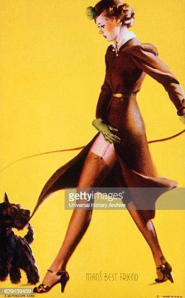Woman Walking Dog Man's Best Friend Mutoscope Card 1940's