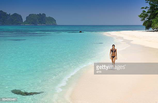 Woman walking down the Beach on a secluded Island