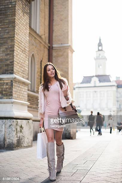 Woman walking down the street