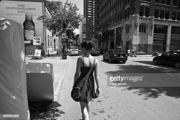Woman walking downtown montreal