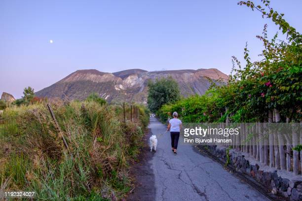 woman walking her dog on a narrow alley in the eolian lipari island vulcano, the vulcano in the background - finn bjurvoll - fotografias e filmes do acervo